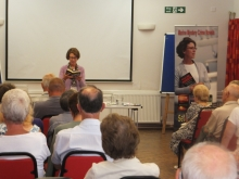 Pauline Rowson reading from DI Horton crime novel The Suffocating Sea, Ringwood U3A June 2014