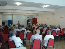 Pauline Rowson talking about her crime novels to members of Ringwood U3A
