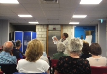 Pauline Rowson explaining how she writes her crime novels to members of the audience at Worthing Library
