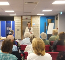 Pauline Rowson talking about her crime novels at Worthing Library June 2014