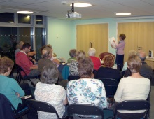 Pauline Rowson explaining how she writes her crime novels- Yate Library