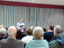 Pauline Rowson reading from Art Marvik crime novel, Silent Running, Dell Quay Sailing Club, March 2015
