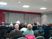 Pauline Rowson talking about her crime novels to members of Dell Quay Sailing Club March 2015