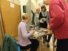 Pauline Rowson signing copies of her crime novels at Midhurst