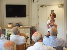 Pauline Rowson talking to members of New Forest Probus about her crime novel
