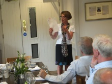 Pauline Rowson talking about how she develops her characters in her crime novels-New Forest North Probus July 2015.