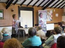 Pauline Rowson showing her plot lines and character sketches to Stoke WI - Feb 2015
