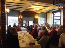 Pauline Rowson lunch time guest speaker talking about her crime novels to members of Southampton Tangent Club