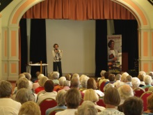 Pauline Rowson explaining how she writes her crime novels to members of Totton South U3A June 2015