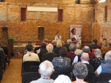 Pauline Rowson entertains the audience at Odiham, Hampshire with tales of her crime fighting heroes