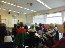 Pauline Rowson talking to the audience at Poole Library