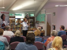 Pauline Rowson answering a question about her crime novels at Stubbington Library