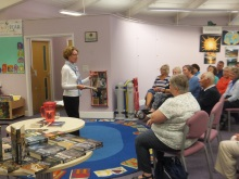 Pauline Rowson Stubbington Library talking about her crime heroes DI Horton and Art Marvik