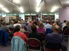 Pauline Rowson talking to the audience at Stubbington Library about her crime novels