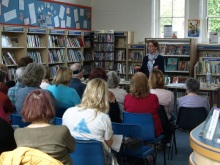 Bishops Waltham Library Pauline Rowson answering a question about her crime writing