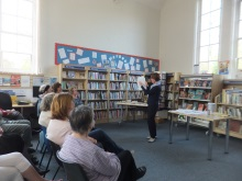 Bishops Waltham Library Pauline Rowson explaining how she draws up her plot lines