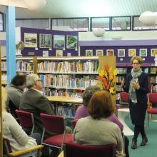 Pauline Rowson explaining a point on crime writing at Fordingbridge Library