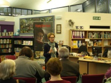 Pauline Rowson talking to readers at Fordingbridge Library