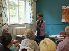 Pauline Rowson explaining a point on crime writing to Wordwrights Creative Writing Group