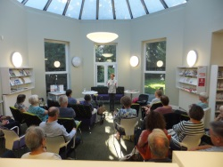 Christchurch Library Pauline Rowson entertaining members with tales of her crime fiction heroes