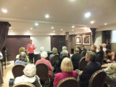 Crime author Pauline Rowson talking to Mystery Readers Group USA on their visit to England