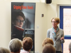 Pauline Rowson answering a question from the audience about her crime novels