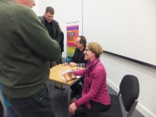 Peter James and Pauline Rowson talking to audience at Portsmouth BookFest