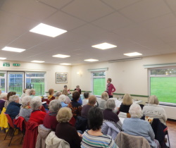 Woodlands WI Pauline Rowson entertaining members with tales of her fictional sleuths