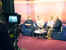 That's Solent TV in the studio on air, Lyn Stagg, Sean Beech, Pauline Rowson with Chris Rider