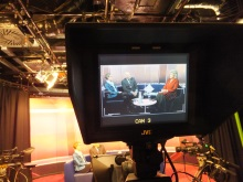 Pauline Rowson in the That's Solent TV studiot