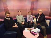 Solent TV February 2016, before going on air, Lynn Stagg, Sean Beech, Pauline Rowson, Chris Rider
